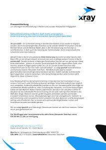 Pressemitteilung - Schwimmtraining in Berlin darf nicht untergehen